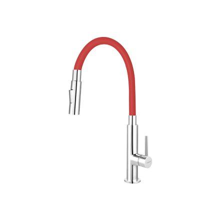 Ferro Zumba Slim BZA43R álló csaptelep flexibilis, zuhanyváltós kifolyócsővel, piros