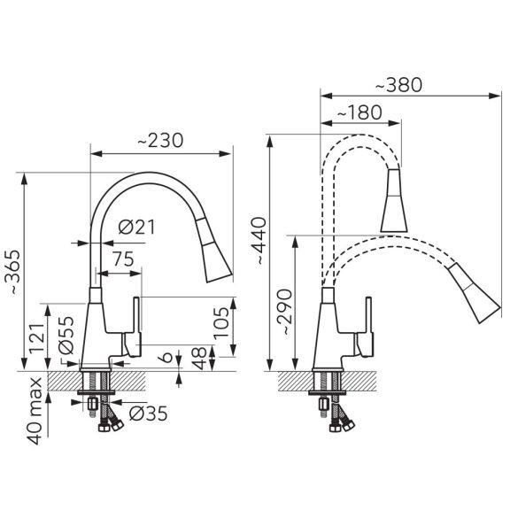 MEZZO II 1 medence + csepptálcás gránit mosogató + Ferro Zumba II zuhanyfejes csaptelep, fekete